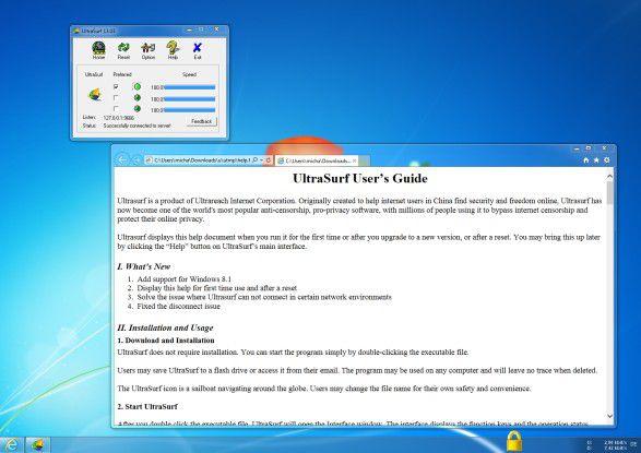 """Schnell installiert und übersichtlich in der Bedienung: Die Freeware """"UltraSurf"""" arbeitet am besten (und mit allen Features) mit dem Internet Explorer zusammen."""