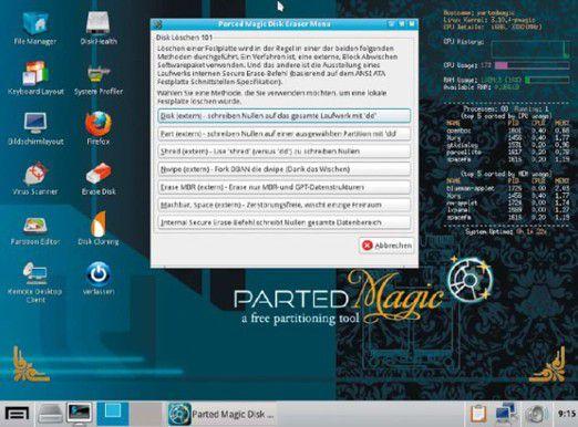 Parted Magic: Das Live-System lässt sich direkt von Plus-DVD starten und bietet neben dem bekannten Partitio-nierer Gparted ein Tool für ATA Secure Erase.