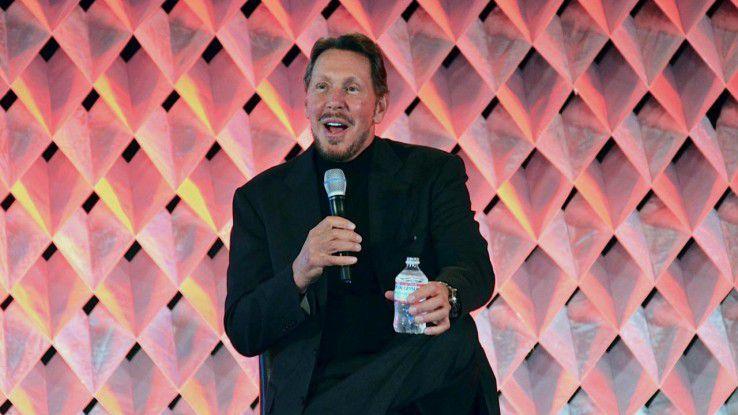 Ein gut gelaunter Larry Ellison stichelte auf der Hausmesse CloudWorld gegen SAP und IBM.