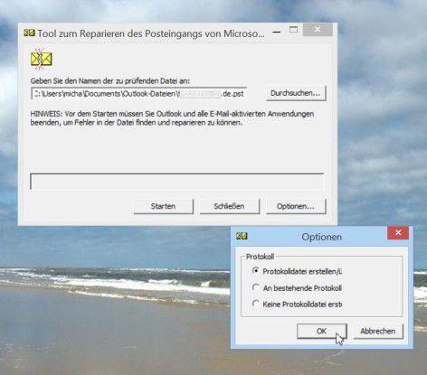 """Das Werkzeug """"ScanPST"""" findet in der Regel automatisch den Pfad zur richtigen PST-Datei und startet dann nach dem """"OK"""" die Überprüfung/Reparatur ebenso automatisch."""