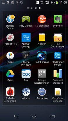 Auf dem Z1 Compact sind zahlreiche Apps bereits vorinstalliert