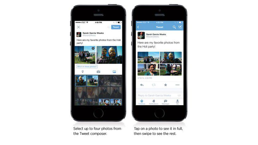 Neu: Bis zu vier Fotos auf einmal über die Twitter-App uploaden.