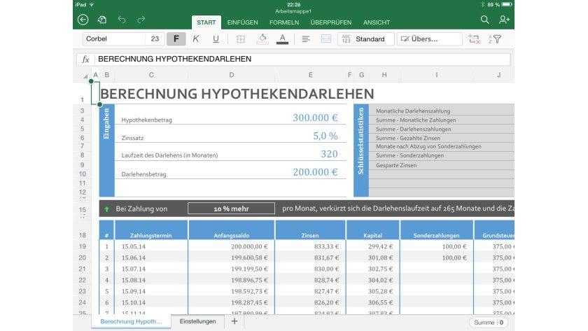 Excel auf dem iPad ermöglicht auch die Erstellung und Bearbeitung komplexer Tabellenkalkulationen.