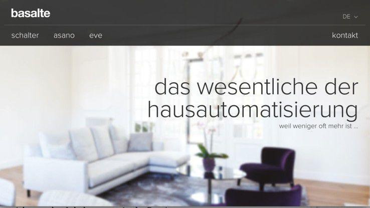"""Drei Produkt-Highlights und die Kontaktmöglichkeit bilden die komplette Navigation: Der Heimautomatisierungs-Spezialist Basalte lebt sein Motto """"Weniger ist mehr"""" auch in der simplen, übersichtlichen Navigation seiner Homepage."""