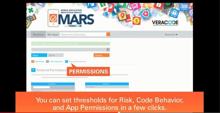 Für die App-Tests können bei Veracode Mobile Application Reputation Service (MARS) individuelle Vorgaben gemacht werden, zum Beispiel zu erlaubten und verbotenen App-Berechtigungen. Entsprechend diesen Vorgaben werden die Apps dann bewertet.