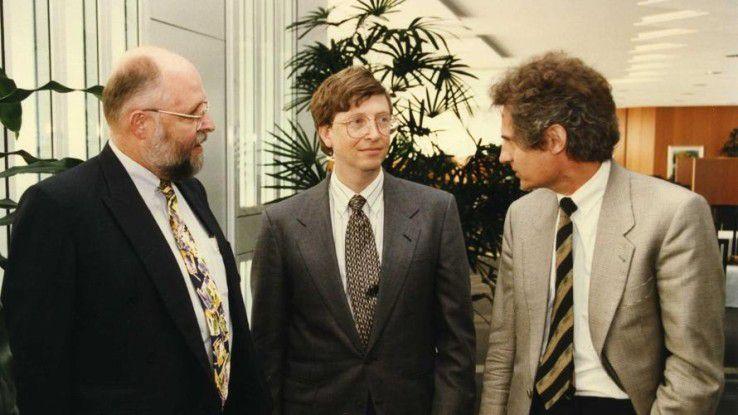 1996 war Bill Gates (Mitte) zu Gast bei den SAP-Granden Klaus Tschira (links) und Hennig Kagermann.