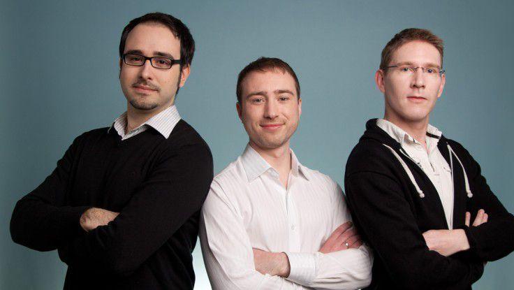 Die Lamapoll-Geschaeftsführer Stoyko Notev, Maik Maibaum und Lars Langner (von links) kennen sich schon aus Gymnasialzeiten.