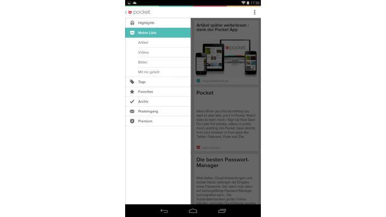 """So funktioniert """"Pocket"""" am besten: Die mit dem Browser (oder der App) abgespeicherten Texte können dann auch mobil auf einem Tablet, wie hier unter Android, bequem auch offline gelesen werden."""