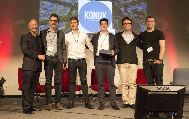 Eine Stunde nach der vorzeitigen Datenübertragung in real time steht es fest: Konux ist einer der Gewinner beim World Founder Forum (v.l.: Michael Baum (Founder.org) sowie Vlad Lata, Andreas Kunze und Dennis Humhal von Konux, Claudius Jablonka und Florian Hillen, beide vom CDTM)