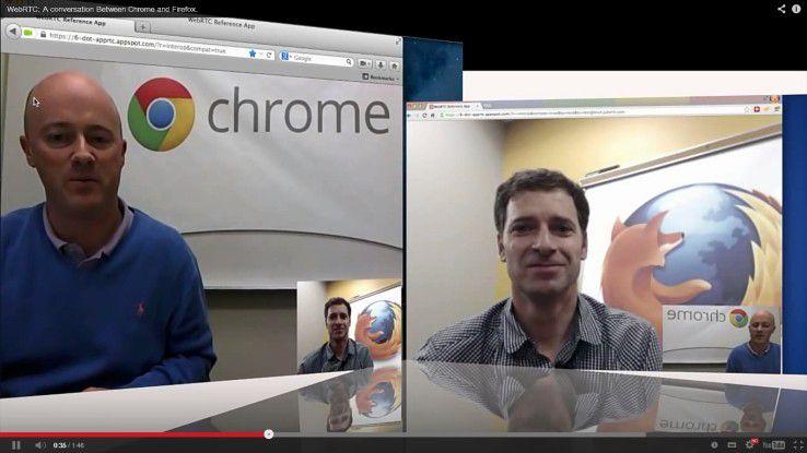 Bei aller Rivalität scheinen sich Hugh Finnan von Googles Chrome-Team und sein Kollege Todt Simpson von Mozilla für Firefox in diesem WebRTC sehr gut zu verstehen.