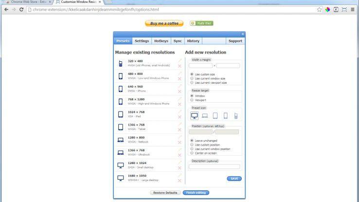 Wenn gewünscht, kann der Entwickler im Window Resizer eigene Formate und Hotkeys speichern.