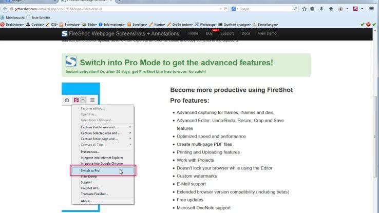 Mit FireShot sind Web-Designer in der Lage, beliebige Teile einer Website auszuschneiden.