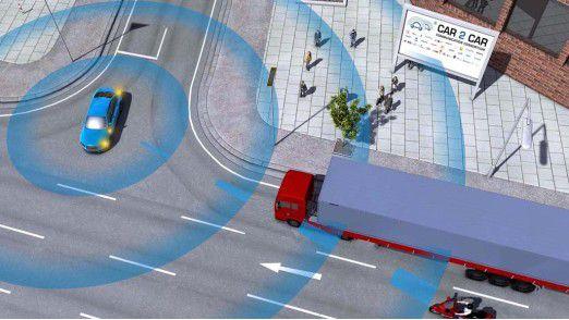 Einsatzbeispiel für die Car-2-Car-Kommunikation: Fahrzeuge informieren sich gegenseitig, und damit ihre Fahrer, über Gefahrensituationen.
