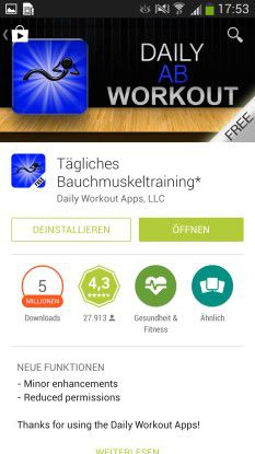 Die relativ einfach gehaltenen Apps sind in den Versionen Tägliches Bauchmuskel-, Bein-, Arm-, Po- und Cardio-Training erhältlich.