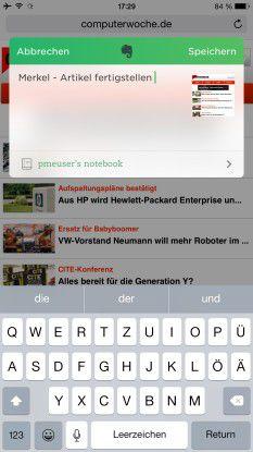 """Evernote nimmt dank neuer """"Share Extension"""" Notizen direkt aus Safari auf."""