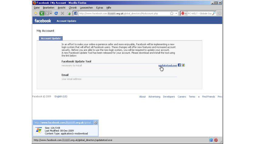 Vorgebliches Facebook Update Tool