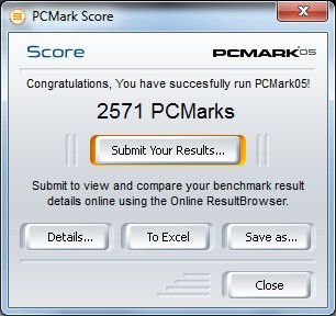 Point of View Mobii ION miniPC Sydney: Ergebnis unter PC Mark 05