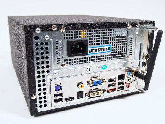 Arlt Mediabox 7 Intel Atom N330: Anschlüsse hinten und WLAN-Antenne