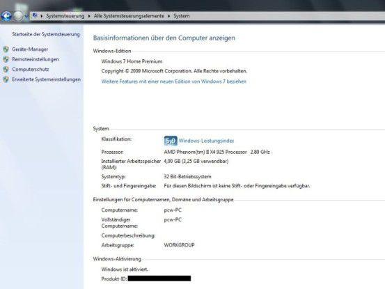 Medion Akoya P7350 D MD 8860: vorinstalliert ist nur die 32-Bit-Variante von Windows 7 Home Premium.