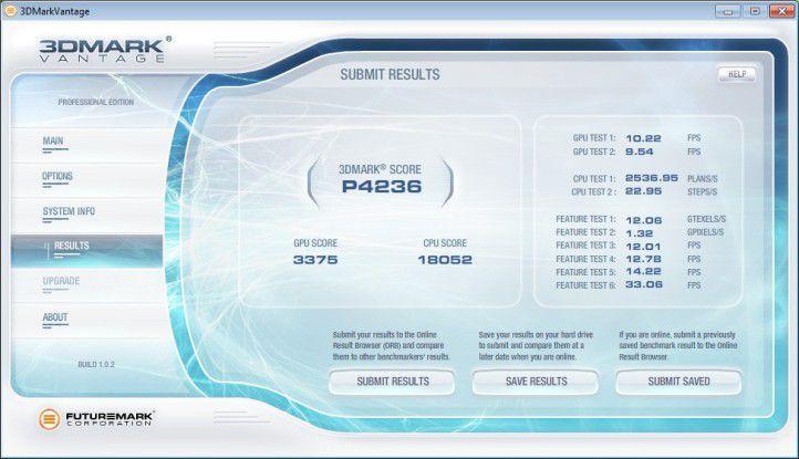 Acer Aspire X5950: Ergebnis unter 3D Mark Vantage