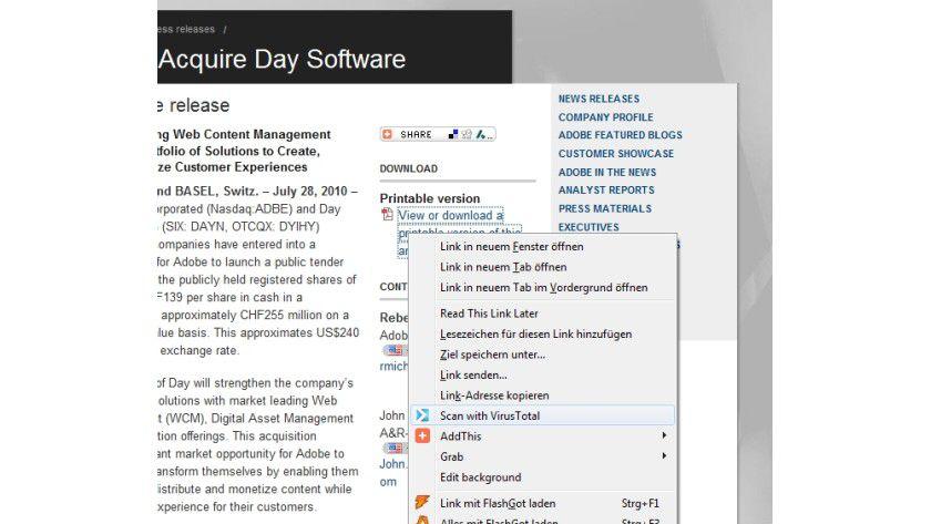 Anti-Malware: Die Erweiterung VirusTotal prüft auf Wunsch Dateien vor dem Download.