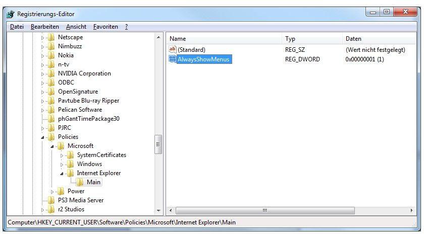 Menüs aktivieren: Dieser Registry-Eintrag zeigt dauerhaft die zusätzliche Menüleiste im IE9 an.