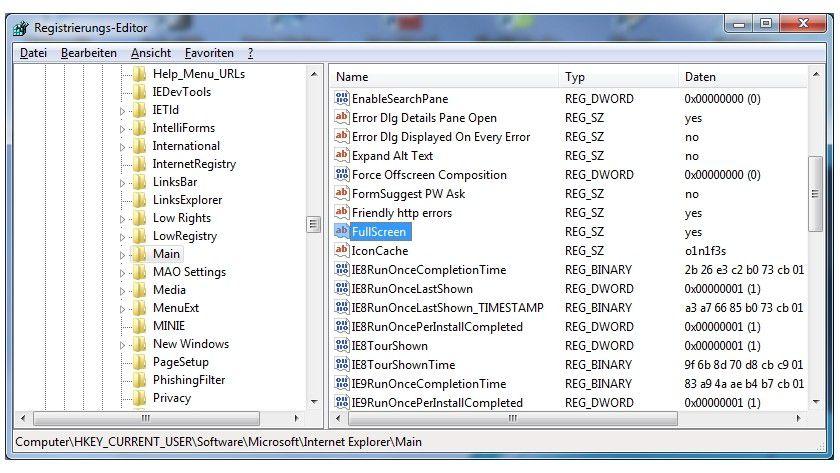 Immer im Vollbild: Dieser Registry-Eintrag regelt die Startansicht des IE9.