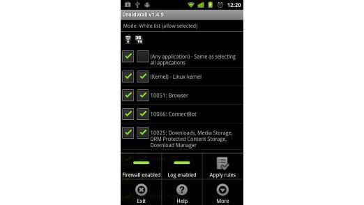 Droidwall Firewall Fur Das Android Smartphone Zusatzfunktionen