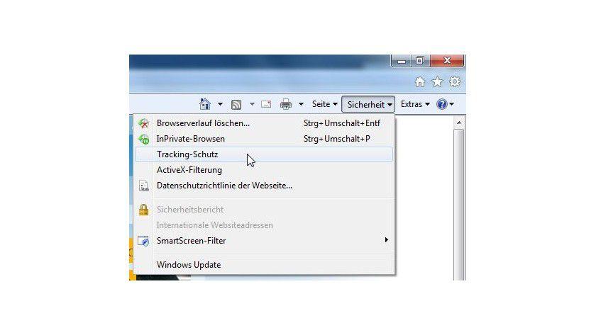 """Tracking Protection List: Die Einstellungen zur Funktion TPL des Internet Explorer 9 werden über das Menü """"Sicherheit"""" und den dort enthalten Menüpunkt """"Tracking-Schutz"""" aufgerufen."""