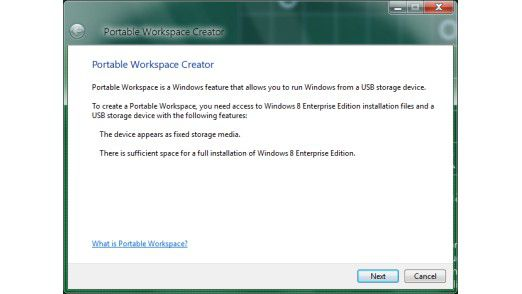 Portable Workspace: Mit Windows 8 lässt sich das Betriebssystem auch auf einem USB-Stick installieren. In den Milestone-Versionen bietet Windows 8 hierfür die neue Funktion Portable Workspace Creator.