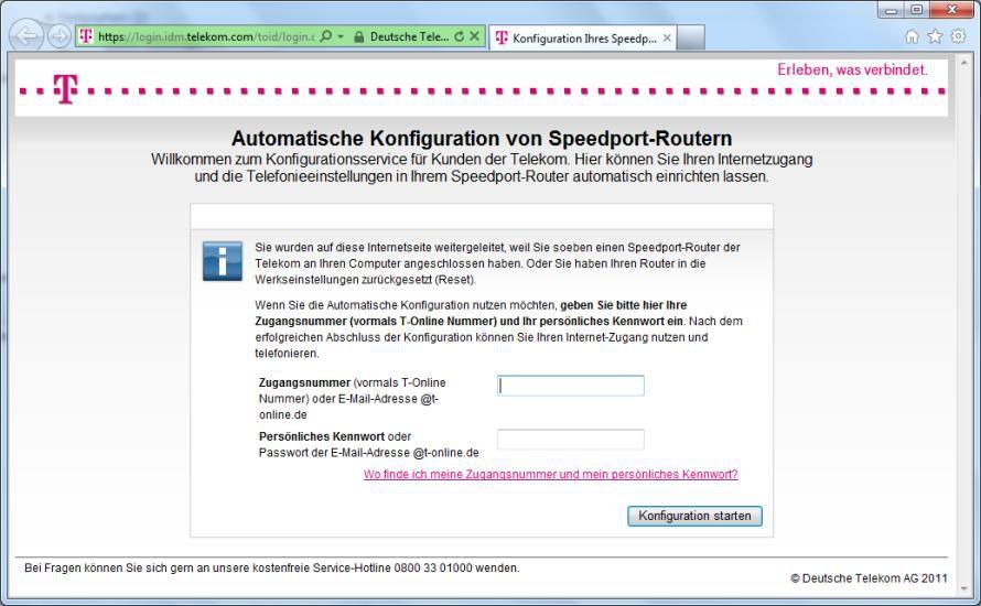 Bild Hartnäckige Startseite Die Automatische Speedport