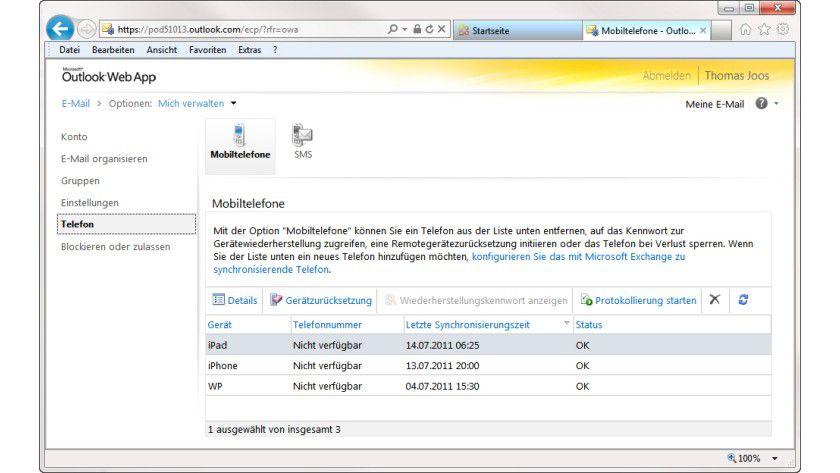 Sicherheit: Smartphones lassen sich beispielsweise über Outlook Web App löschen.