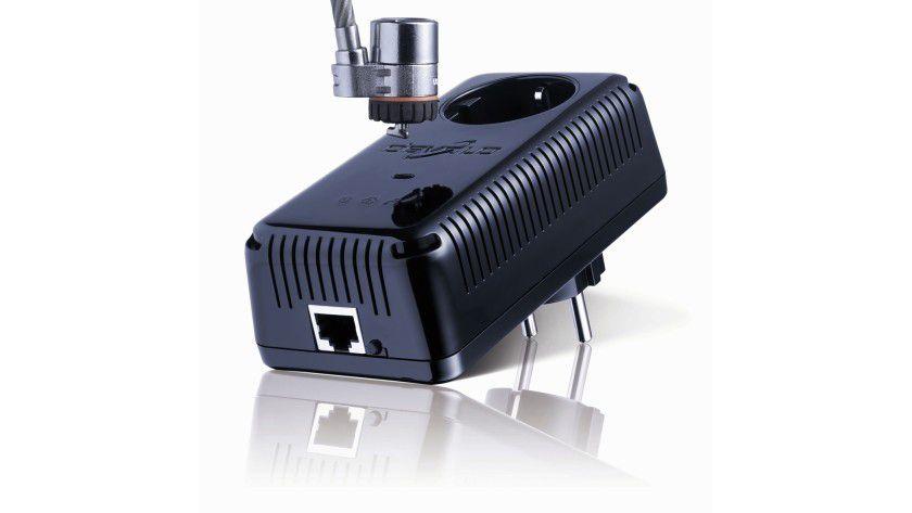 Devolo dLAN 200 AVpro WP II: Der Powerline-Adapter ist mit einem Kensington-Lock ausgestattet.