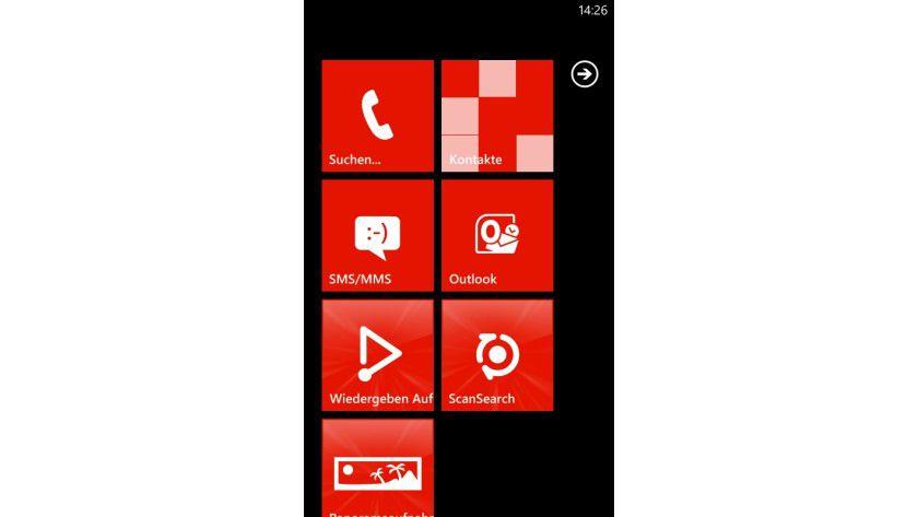 Tiles: Mit seinem Kachel-Konzept geht Microsoft einen anderen Weg als Android und iOS.