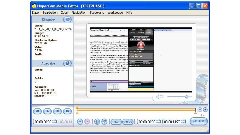 HyperCam: Videoclips verpasst man im integrierten Media Editor den letzten Schliff.