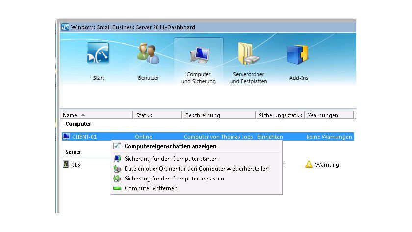 Übersichtlich: Die Clients können Sie im Dashboard des SBS 2011 Essentials verwalten.