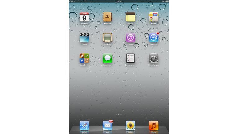 Homescreen: Zum Start ist das Startmenü des iPads noch leer. Der App Store ändert das.