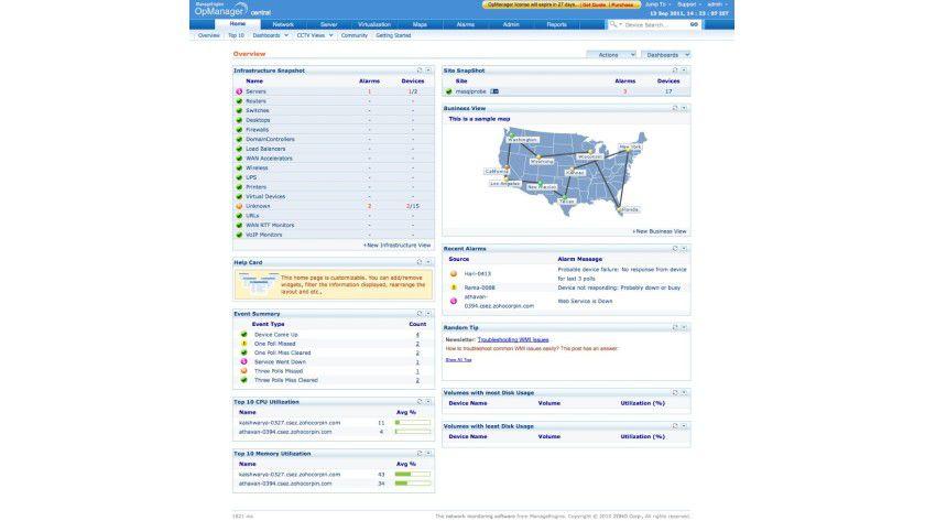 Details: Die Kommandozentrale der Monitoring-Plattform OpManager Enterprise.