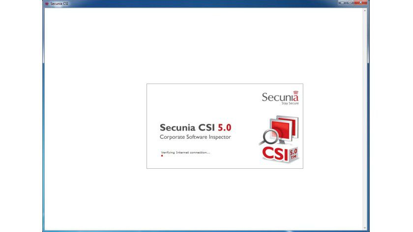 Der Startbildschirm von Secunia CSI: Der Dienst benötigt eine aktive Internetverbindung, um arbeiten zu können.