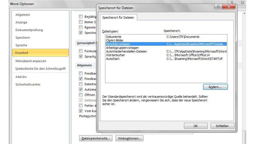 Tipp Für Microsoft Word Pfad Für Dokumentvorlagen In Word 2010