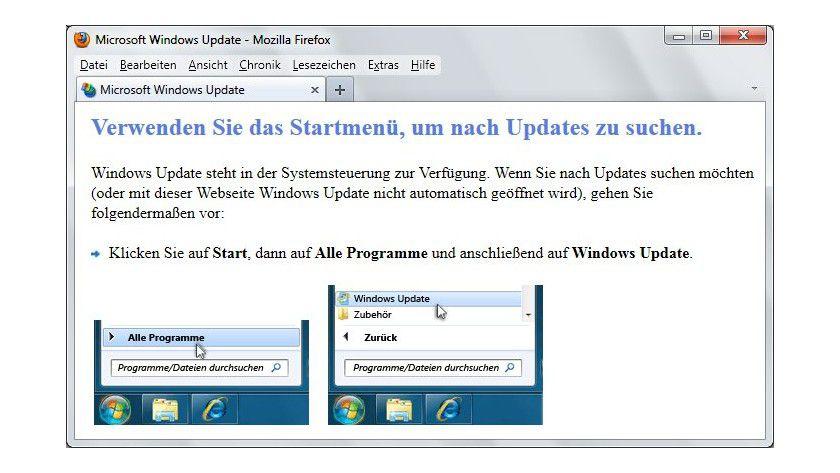 Inkompatibel: Wenn die Update-Seite für die zusätzlichen Aktualisierungen nicht im Internet Explorer mit aktivierter ActiveX-Unterstützung geladen wird, kommt es zu einer Fehlermeldung.
