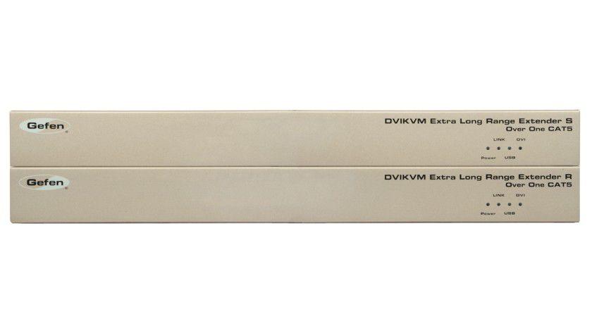 Transporter: Der Extender überträgt DVI- und USB-Signale via Cat-5-Kabel.
