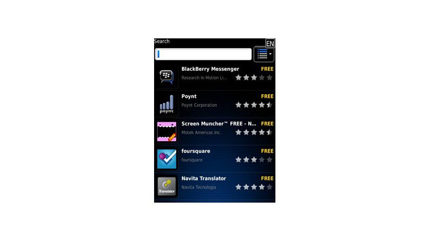 Verknüpfte Apps: Im Update des Blackberry Messengers lassen sich kompatible Apps aus dem Kontextmenü heraus suchen.