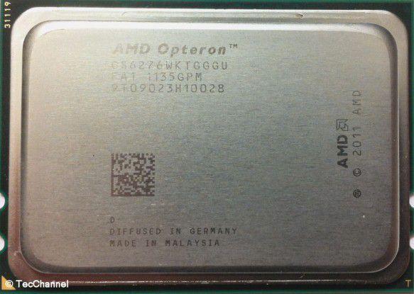 AMD Opteron 6276: Der neue 16-Core-Prozessor mit Bulldozer-Architektur verfügt über insgesamt 32 MByte Cache. Platz nimmt die CPU weiterhin im Socket G34 des Vorgängers Opteron 6100.