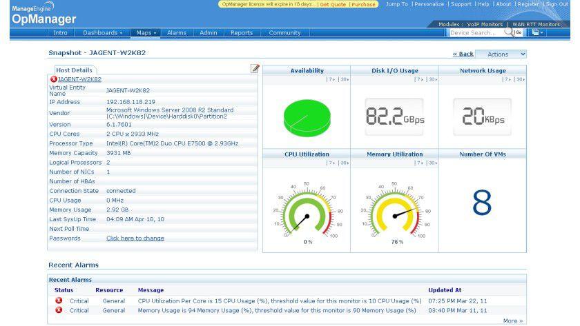 Netzwerkmanagement: Die neue Version 9.0 des Monitoring-Tools von Opmanager bietet erweiterte Überwachung virtualisierter Infrastrukturen.