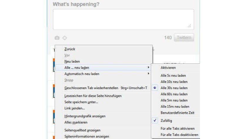 """Automatisiert: Mit """"Reload every"""" ist es möglich, innerhalb eines Zeitintervalls Internetseiten mit einem Zufallswert zu aktualisieren."""