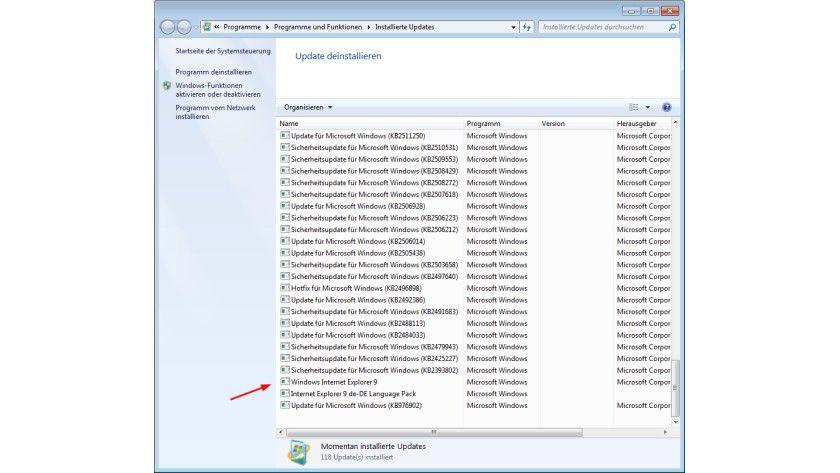 Windows 7 mit SP1: Der Internet Explorer 9 wird unter den installierten Updates gelistet und kann dort deinstalliert werden.