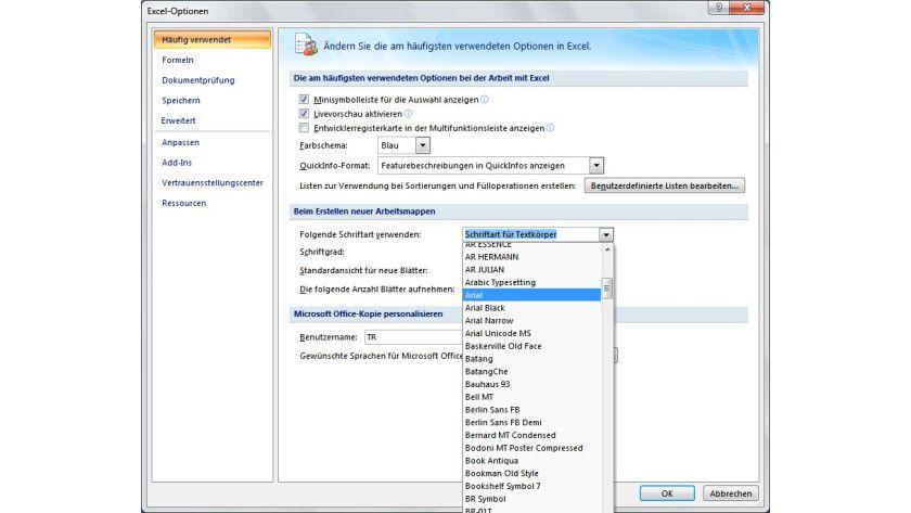 """Vorgabe: Im Abschnitt """"Beim Erstellen neuer Arbeitsmappen"""" lassen sich die Vorgaben in Excel für Schriftart und Schriftgrad definieren."""
