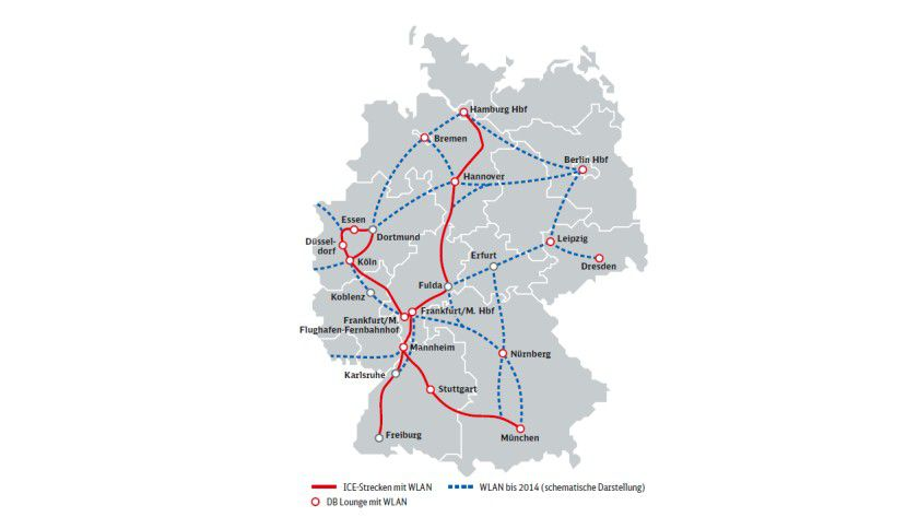 Ausbau: Auf der ICE-Strecke Mannheim-Freiburg können Reisende nun auch die Telekom Hotspots nutzen. Bis 2014 ist ein weiterer Ausbau der Versorgung geplant.