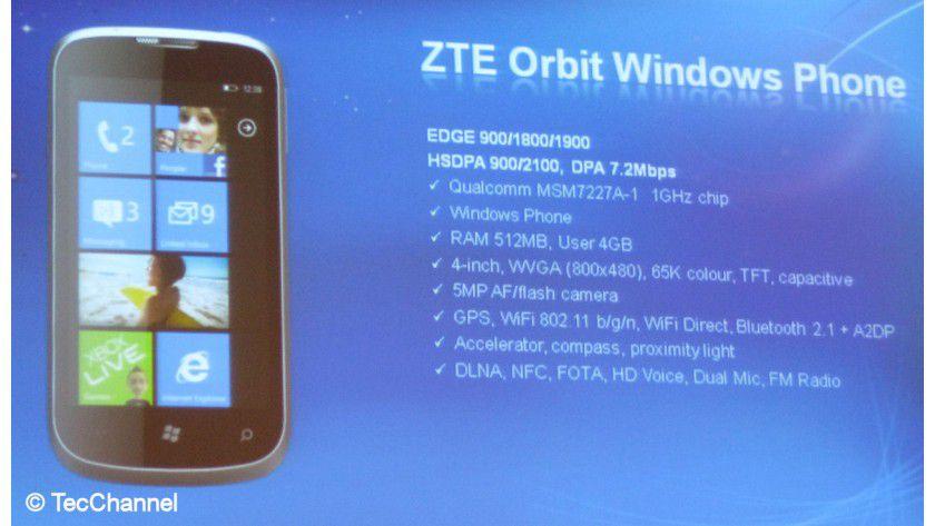 ZTE Orbit: Das Smartphone mit Windows Phone kommt ebenfalls nach Europa.